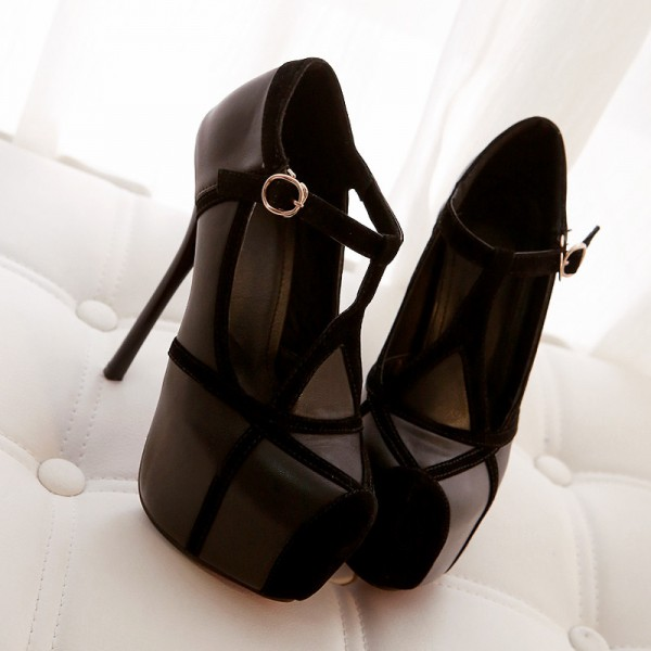 Black T Strap Pumps Platform Stilettos High Heel Shoes image 2