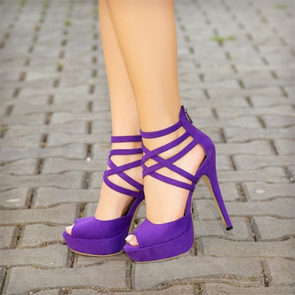 Purple Peep Toe Heels Suede Platform Strappy Sandals for Party ...