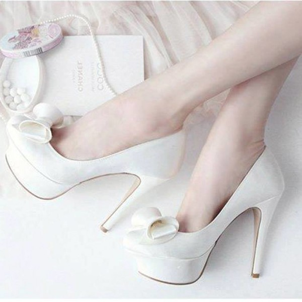Women's Lillian White Platform Bows Stiletto Heel Pumps Bridal Heels image 1