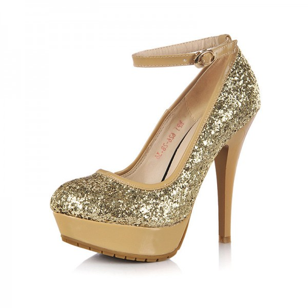 Gold Sparkly Heels Ankle Strap Glitter Platform Pumps for Party ...