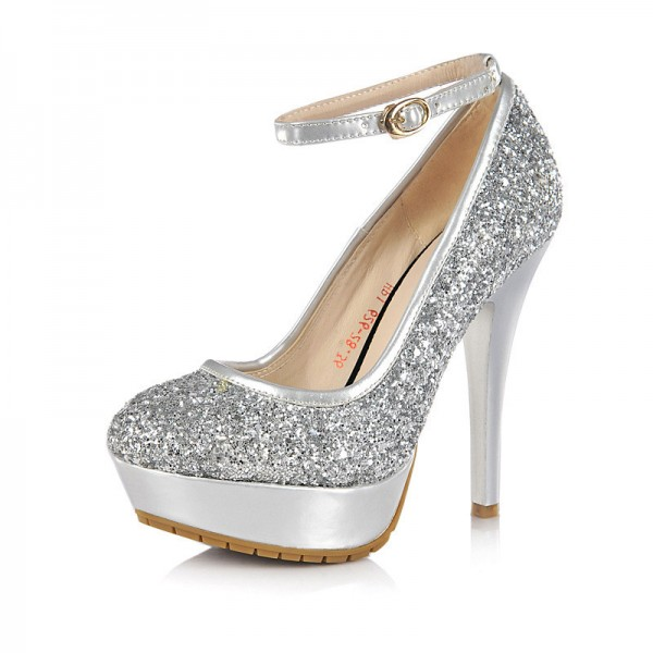 Silver Sparkly Heels Ankle Strap Glitter Shoes Platform Pumps for ...