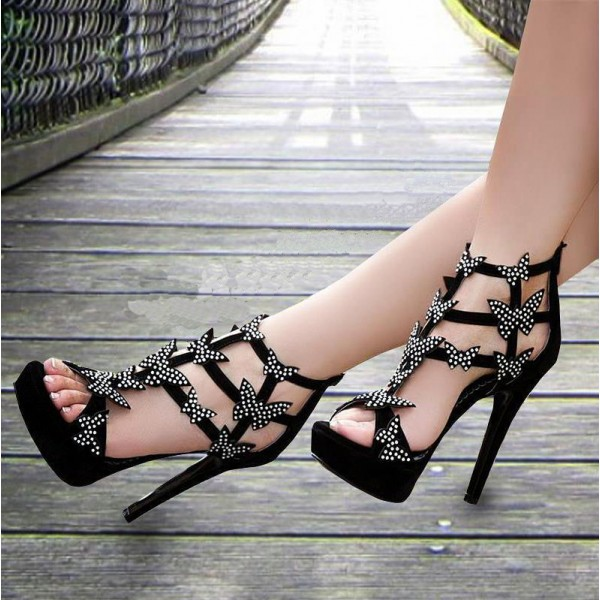 Black Prom Shoes Platform Sandals Evening Shoes with Butterflies image 1
