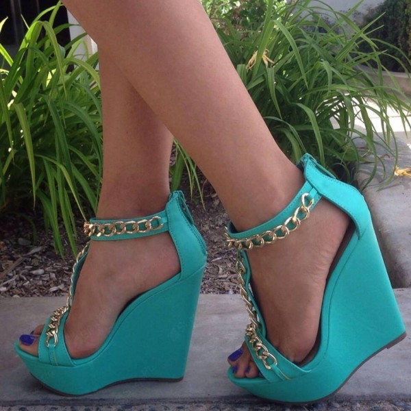 Women's Cyan T-strap Open Toe Wedge Heels Sandals image 1