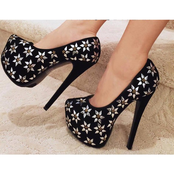 Women's Leila Black and Silver Flowers Printed Pumps Platform Heels image 1
