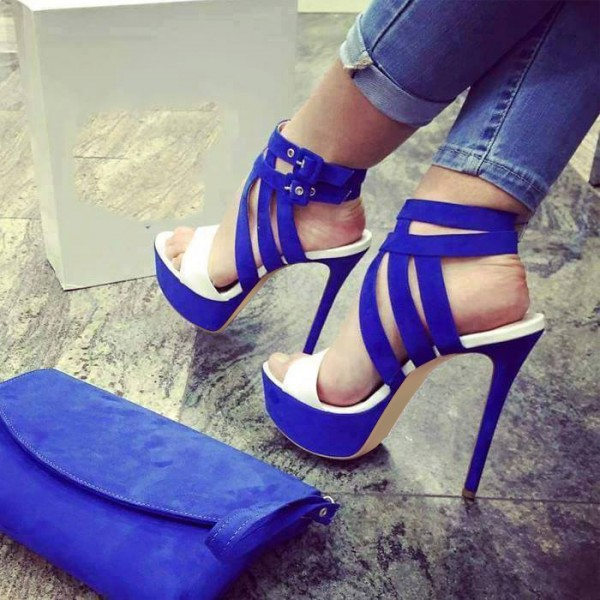 Royal Blue Heels Open Toe Platform Sandals Stiletto Heels image 1