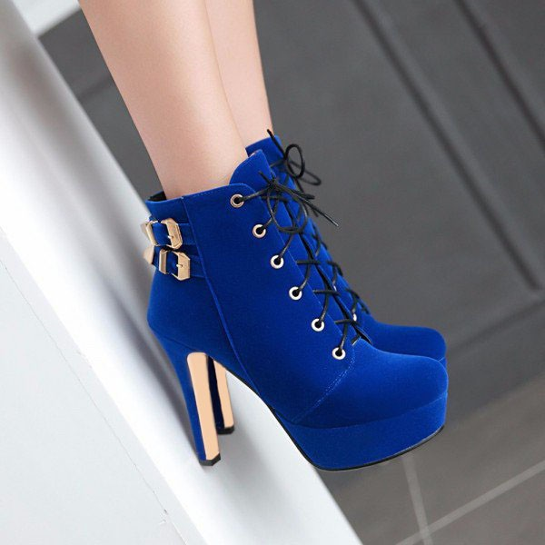 Cobalt Blue Shoes Lace up Platform Suede Ankle Boots image 2