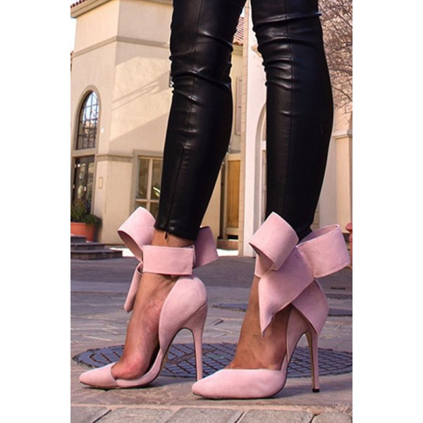 Pink Stiletto Heels Suede Bow Closed Toe Double D'orsay Pumps for Prom  image 4