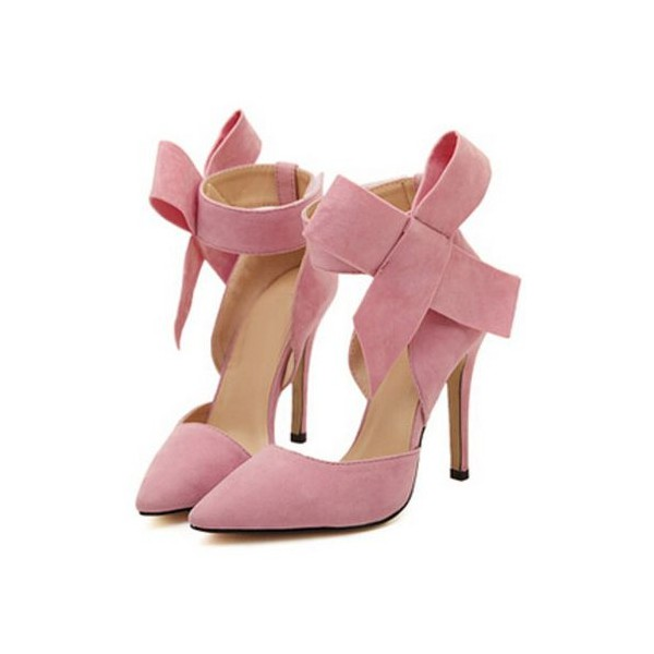 Pink Stiletto Heels Suede Bow Closed Toe Double D'orsay Pumps for Prom  image 3