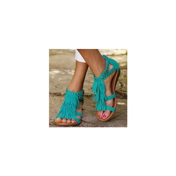 Turquoise Suede Fringe Sandals Open Toe Low Heel Studs Shoes image 1