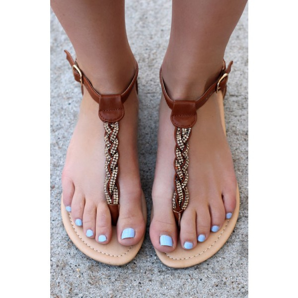 Brown Rhinestone Braided Beach Sandals Summer Flat Sandals image 1