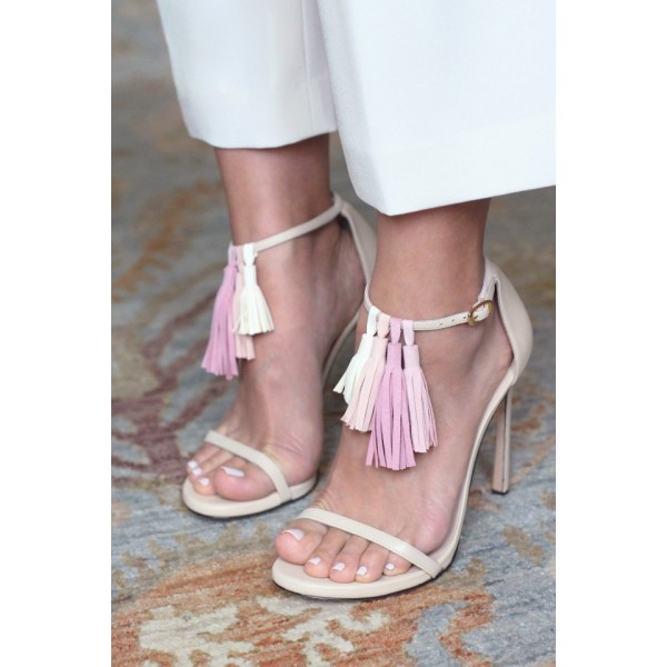 Women's Lillian White Tassels Upper Ankle Strap Sandals image 3