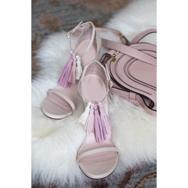 Women's Lillian White Tassels Upper Ankle Strap Sandals image 4