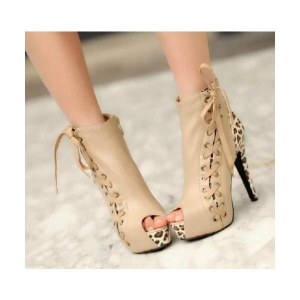Women's Beige Side Ties Leopard Lace Up Heels Ankle Boots image 1