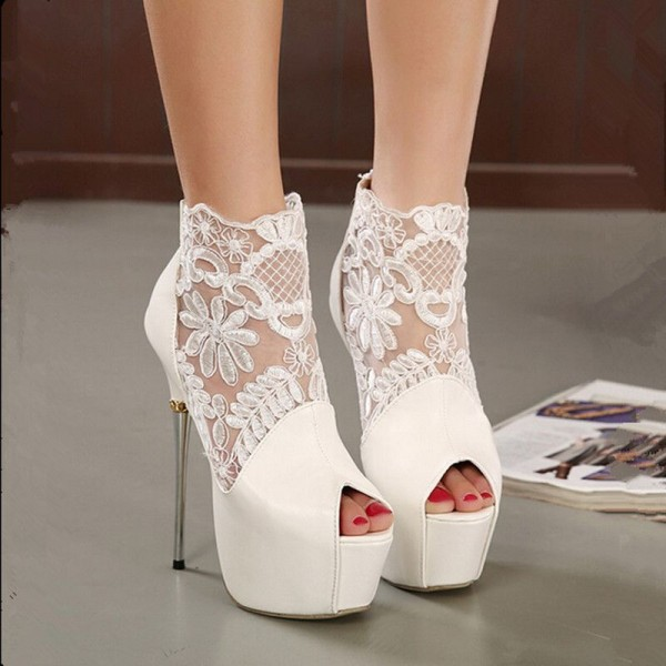 White Wedding Shoes Lace Peep Toe Stiletto Heels Platform Ankle Booties image 4