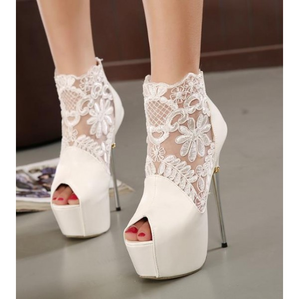 White Wedding Shoes Lace Peep Toe Stiletto Heels Platform Ankle Booties image 3