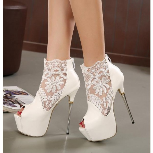 White Wedding Shoes Lace P Toe Stiletto Heels Platform Ankle Booties Image 1