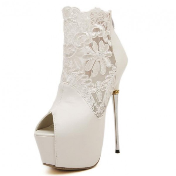 White Wedding Shoes Lace Peep Toe Stiletto Heels Platform Ankle Booties image 5