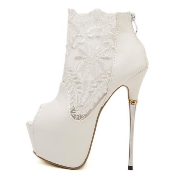 White Wedding Shoes Lace Peep Toe Stiletto Heels Platform Ankle Booties image 6