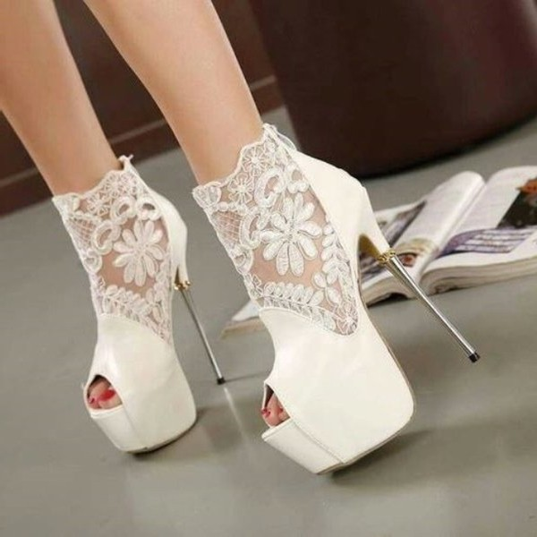 White Wedding Shoes Lace Peep Toe Stiletto Heels Platform Ankle Booties Image 2