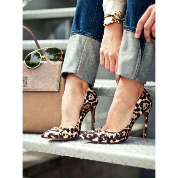 Women's Leopard Print Stiletto Heels Dress Shoes Pointed Toe Rivets Pumps image 2