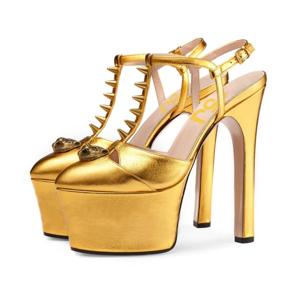 Golden Rivets T-Strap Platform Heels Super High Heel Slingback Shoes image 1