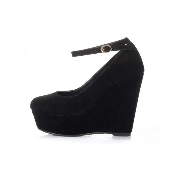 Leila Black Women's Wedge Heels Sexy Ankle Strap Pumps image 4