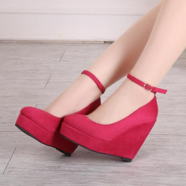Red Closed Toe Wedges Suede Platform Ankle Strap Pumps image 1