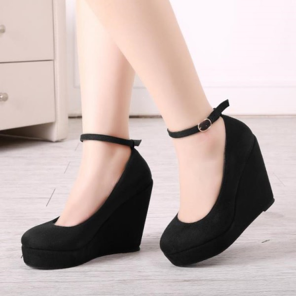 Leila Black Women's Wedge Heels Sexy Ankle Strap Pumps image 6