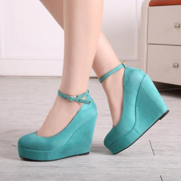 Turquoise Closed Toe Wedges Platform Suede Ankle Strap Pumps image 1