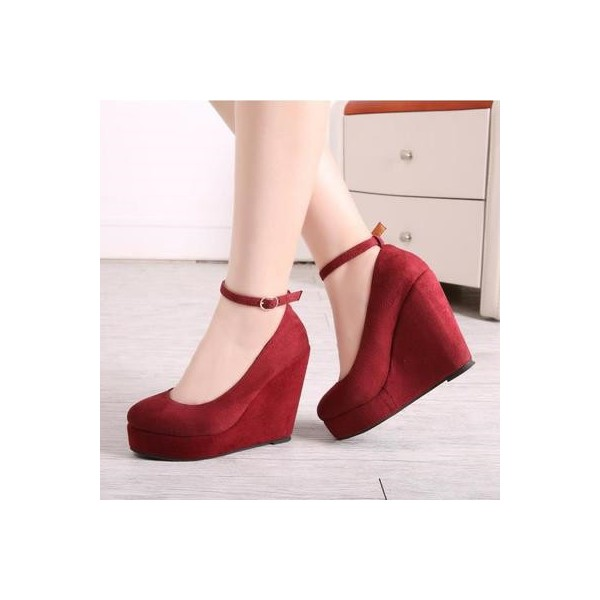Burgundy Closed Toe Wedges Suede Platform Ankle Strap Pumps image 1