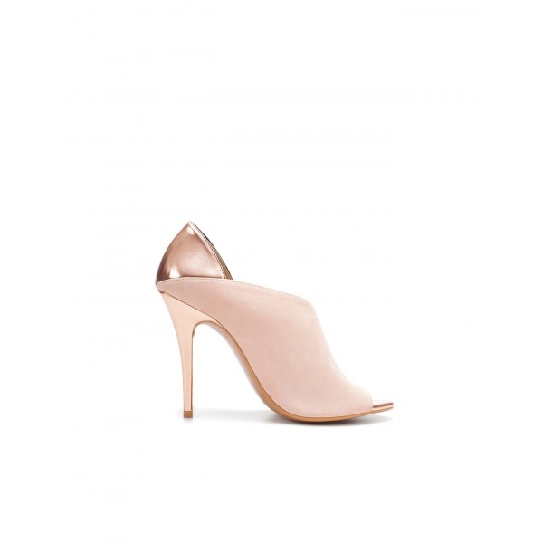 Blush Heels Open Toe Suede Stiletto Heel D'orsay Pumps image 3