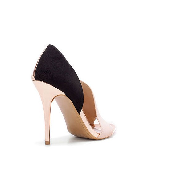 Blush Heels Open Toe Suede Stiletto Heel D'orsay Pumps image 2