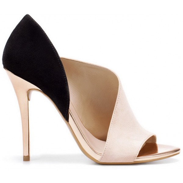 Blush Heels Open Toe Suede Stiletto Heel D'orsay Pumps image 4