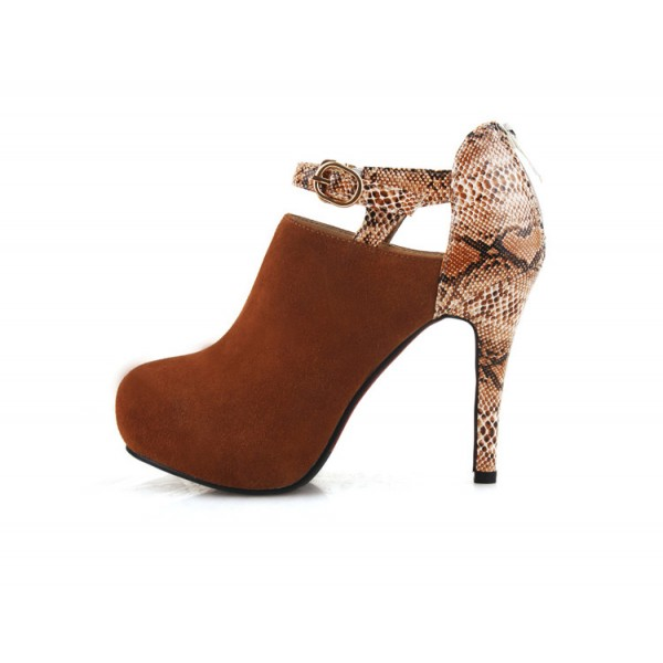 Brown Fashion Boots Heeled Python Ankle Booties image 1