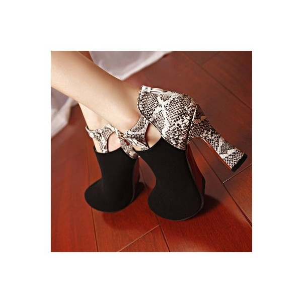 Black Fashion Boots Spool Heel Python Ankle Booties image 2