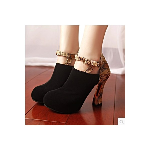 Black Suede and Snakeskin Booties Fashion Short Ankle Boots image 3