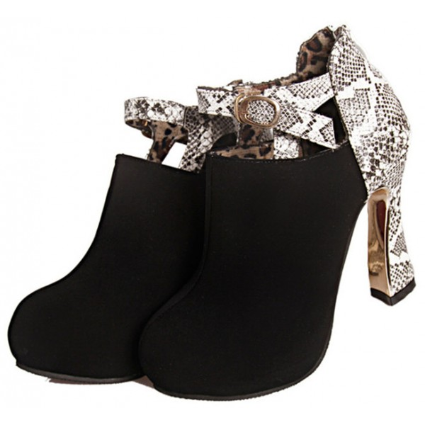 Black Fashion Boots Spool Heel Python Ankle Booties image 1