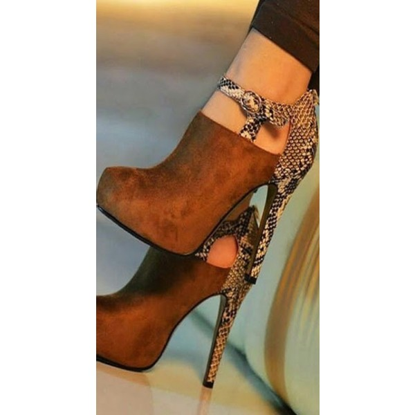 Tan Platform Heels Python Elegant Vintage Shoes Suede Winter Ankle Booties  image 1
