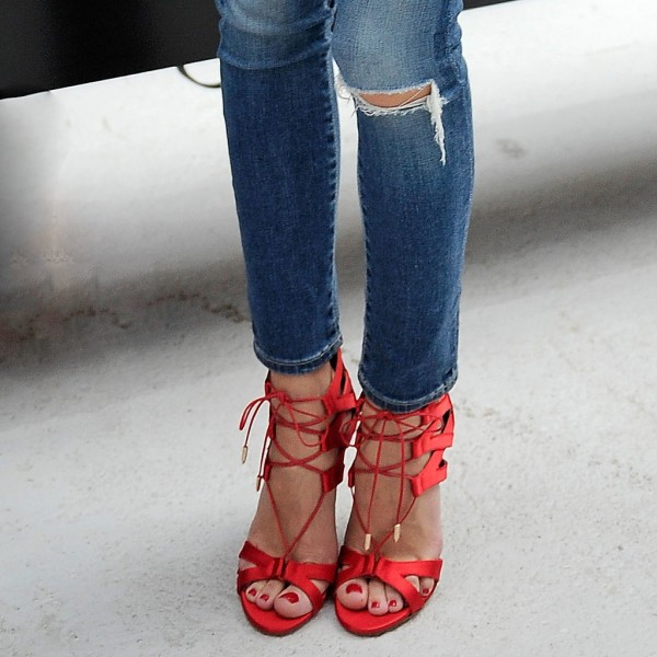 Red Lace up Sandals Satin Strappy Heels for Prom image 3