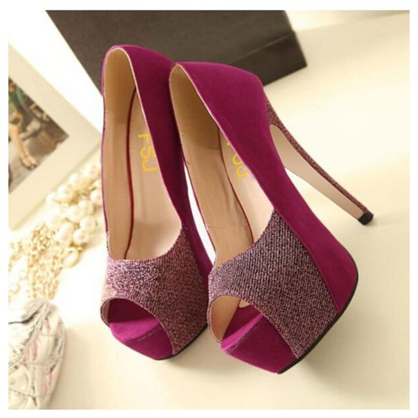 2018 Fuchsia Peep Toe Heels Suede Platform Pumps High Heels Shoes  image 3