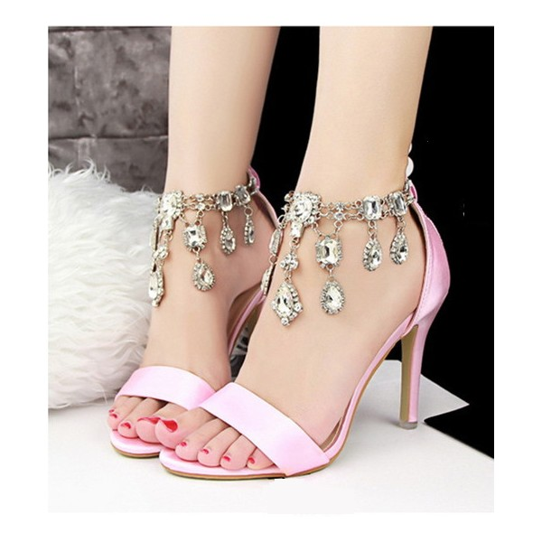 Pink Wedding Sandals Jeweled Satin Stiletto Heels for Bridesmaid image 1