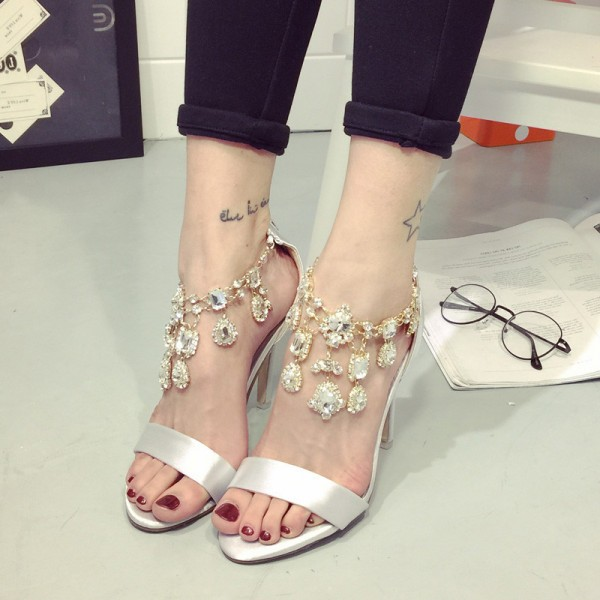 Silver Bridal Sandals Open Toe Satin Jeweled Heels for Wedding image 1