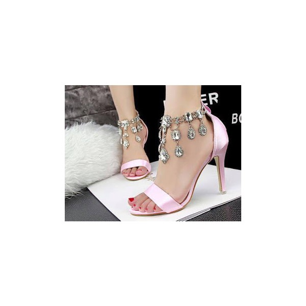Pink Wedding Sandals Jeweled Satin Stiletto Heels for Bridesmaid image 2