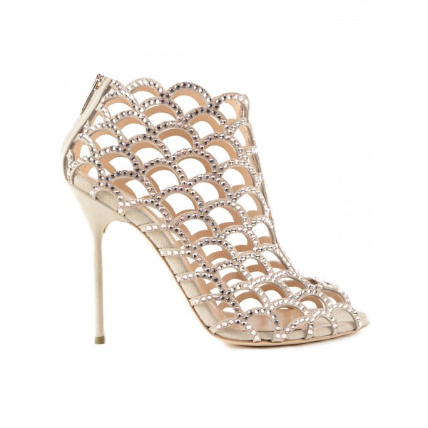 Champagne Rhinestone Bridal Heels Cage Sandals for Wedding image 2