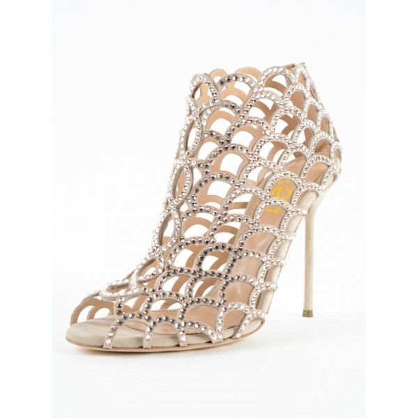 Champagne Rhinestone Bridal Heels Cage Sandals for Wedding image 7