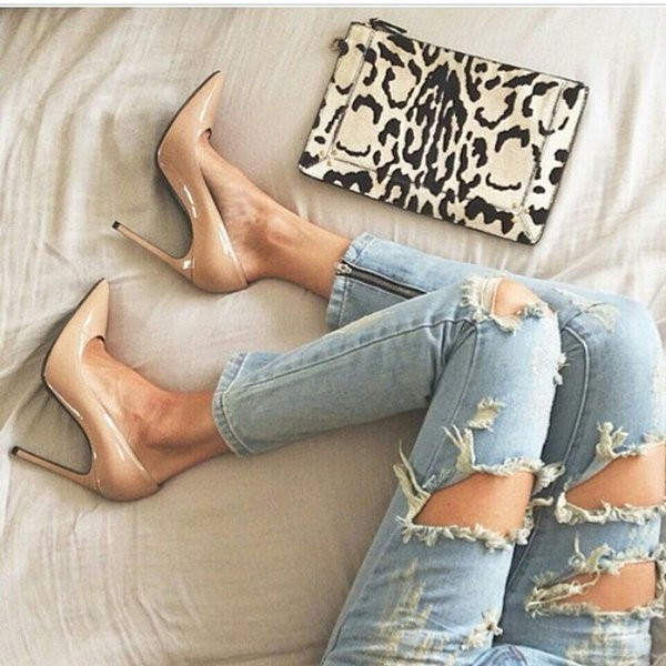Nude Pointed Toe Pumps for Work image 1