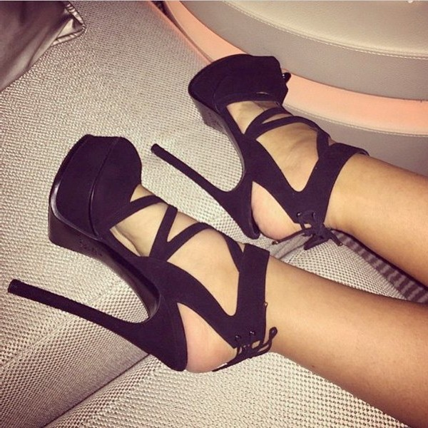 Black Platform Sandals Strappy Peep Toe Stiletto Heel Shoes image 1