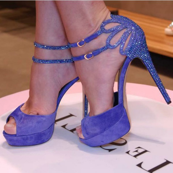 Lavender Evening Shoes Rhinestone Ankle Strap Stiletto Heel Sandals for Ball image 1