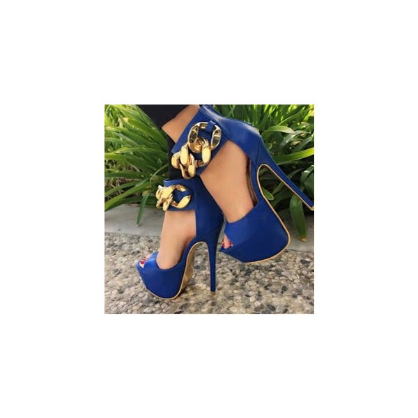 Cobalt Blue Shoes Peep Toe Metal Chain Ankle Strap Platform Pumps image 1