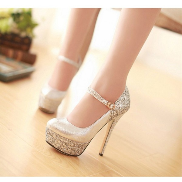 Women's Silver Mary Jane Pumps Sparkly Heels Platform High Heel Shoes image 1